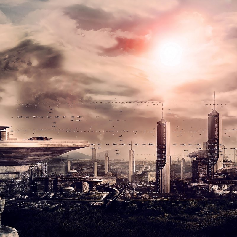 Futuristic City iPad Wallpaper 33