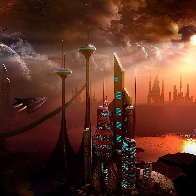 Futuristic City iPad Wallpaper 43