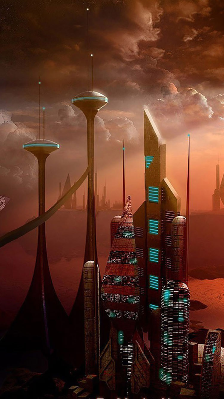 Futuristic City iPhone Wallpaper 43