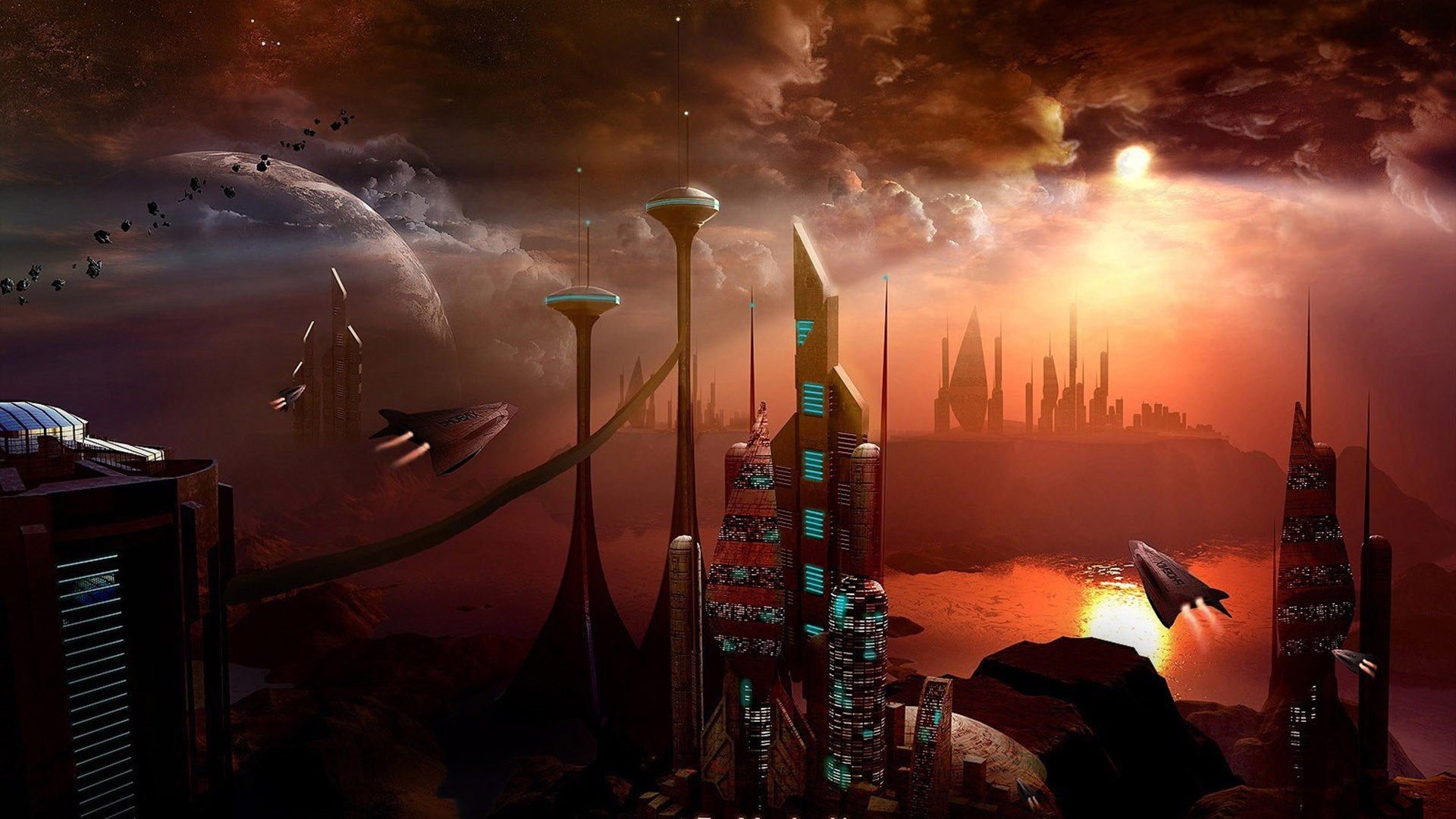 paintings planets and cities - photo #4